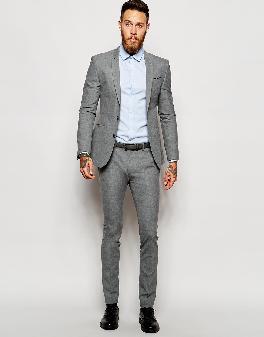 Mens Grey Skinny Suit Dress Yy