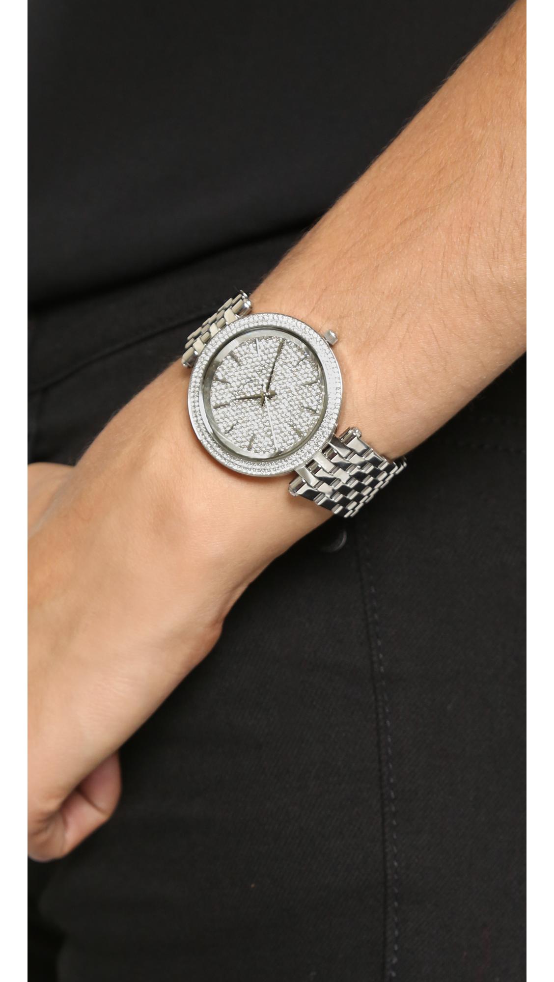 7141a5cdae42 Michael Kors Darci Watch - Silver in Metallic - Lyst