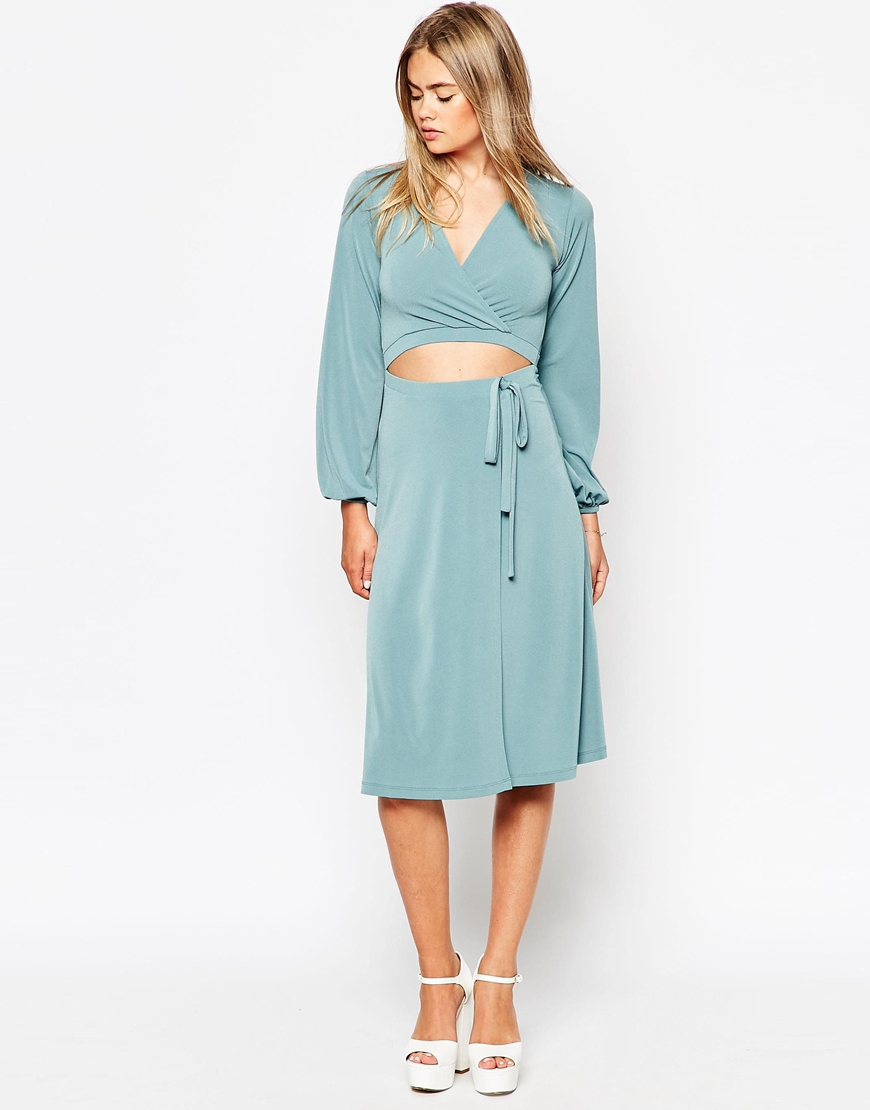 Lyst - Asos Wrap Dress With Blouson Sleeves And Cut Out in Blue
