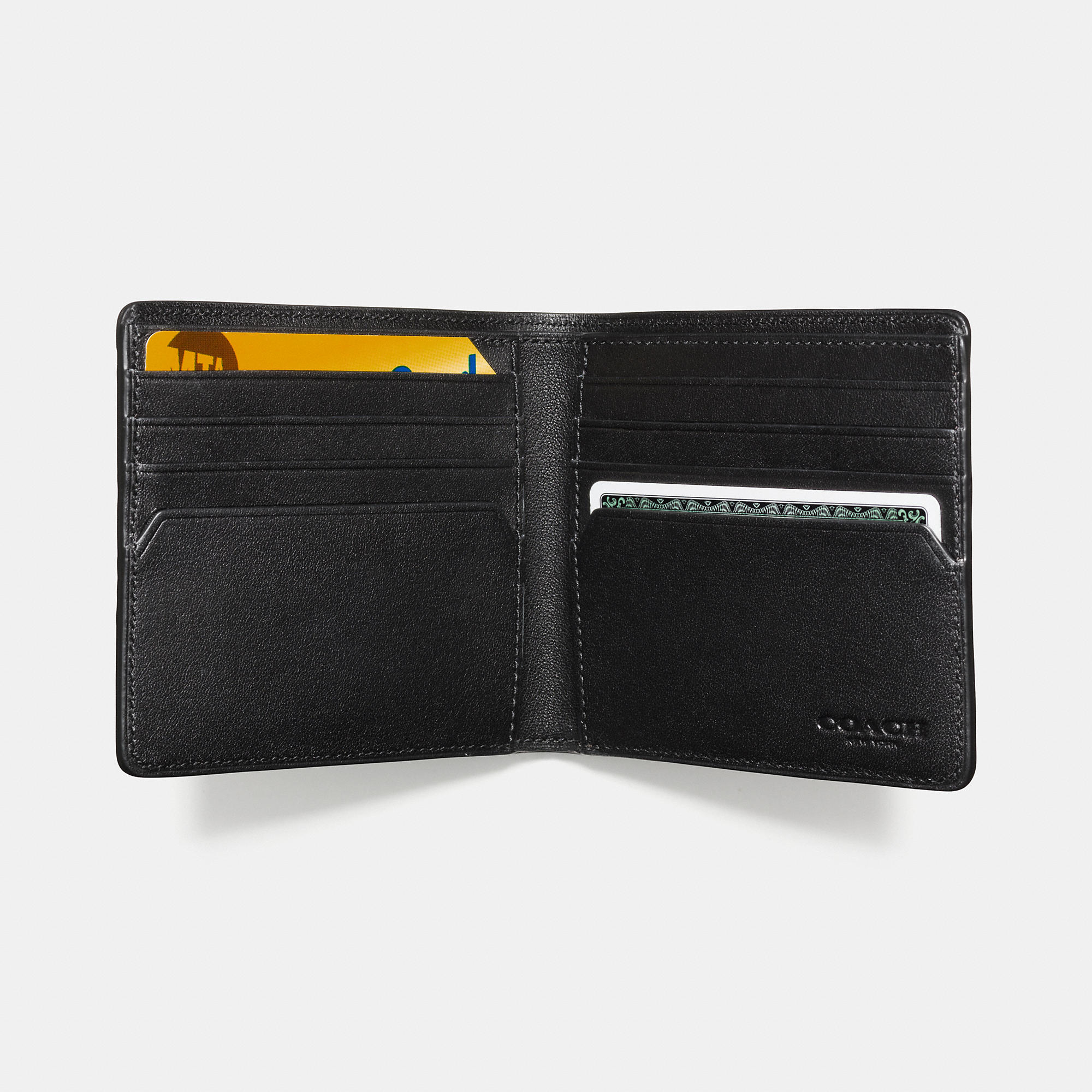 9382709ba0bd new style lyst coach double billfold wallet in signature crossgrain leather  95ca3 7dea8