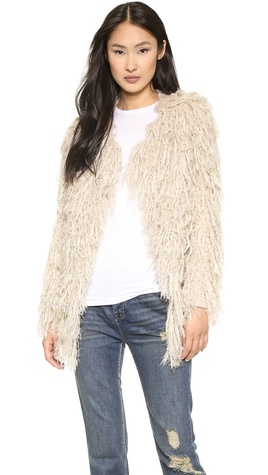 4a0842202a2eed Free People Faithful Shaggy Cardigan - Black in Natural - Lyst