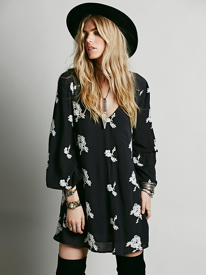 2821b56ea5fa Lyst - Free People Embroidered Austin Dress in Black