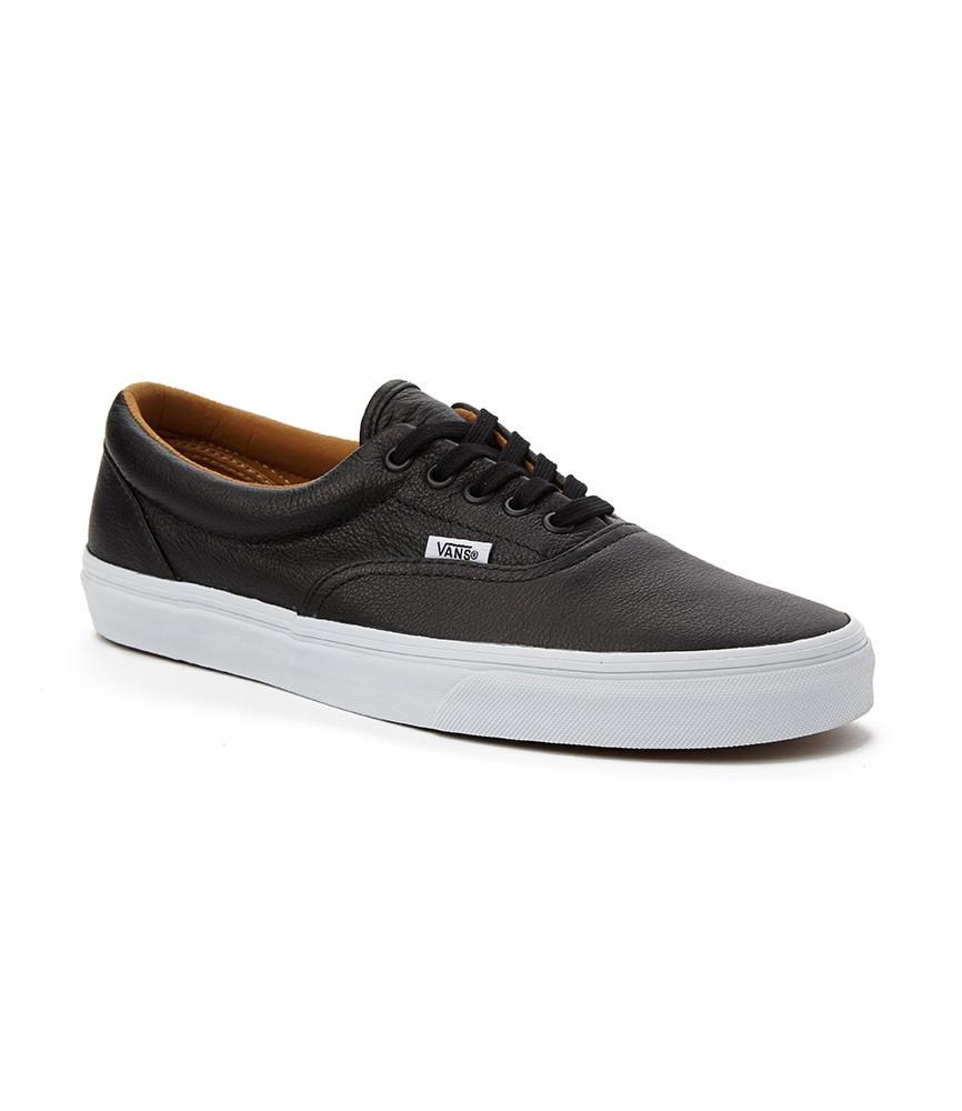 Vans era plimsolls in premium leather in black for men lyst for Ka international tessuti arredamento
