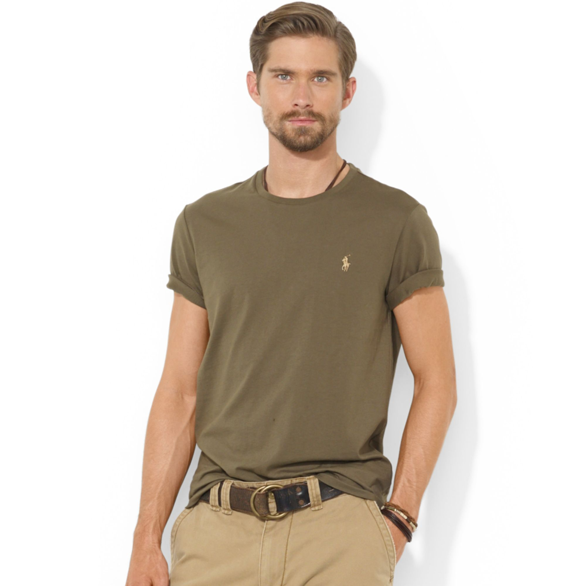 Ralph lauren polo customfit cotton jersey t shirt in green for Custom fit t shirts