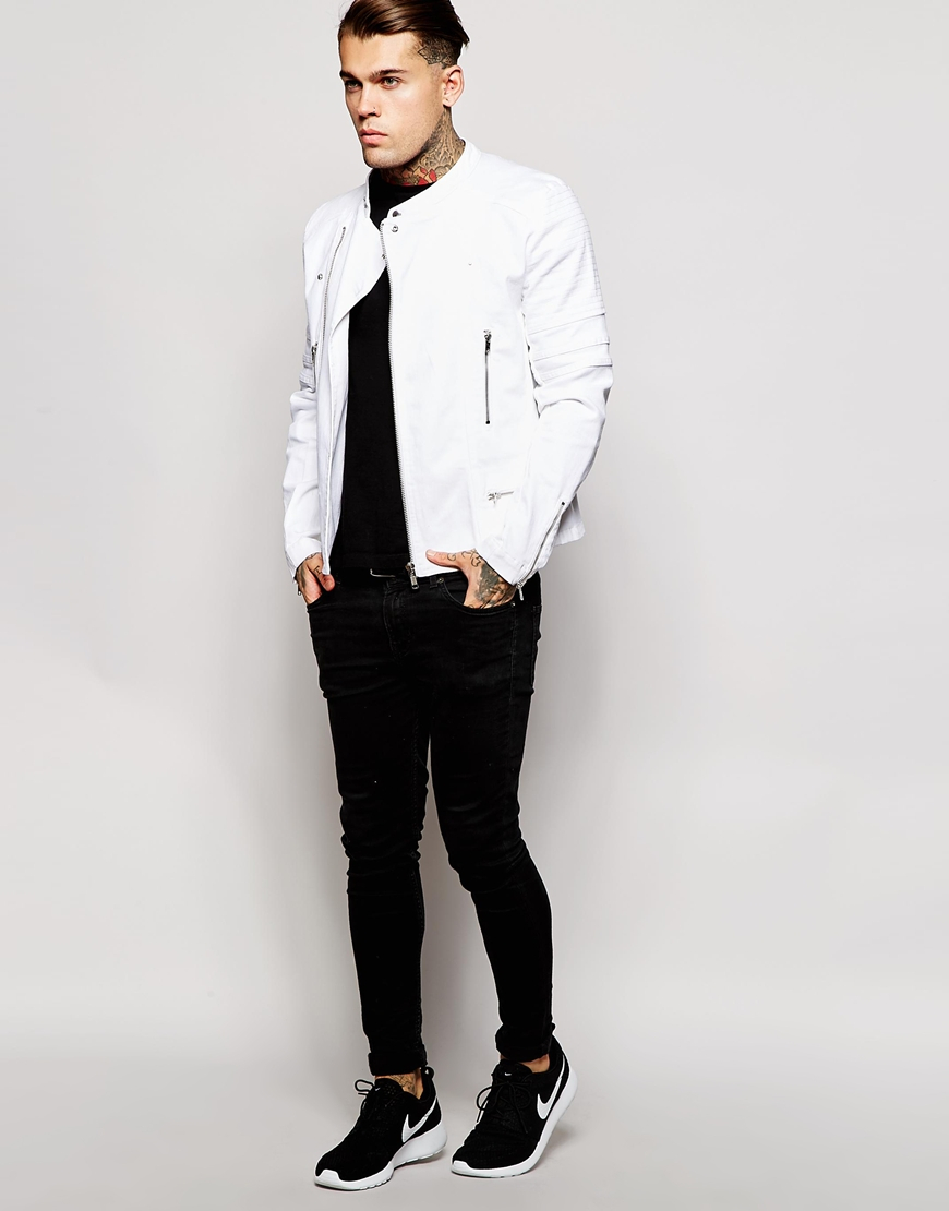 Asos Denim Biker Jacket in White for Men