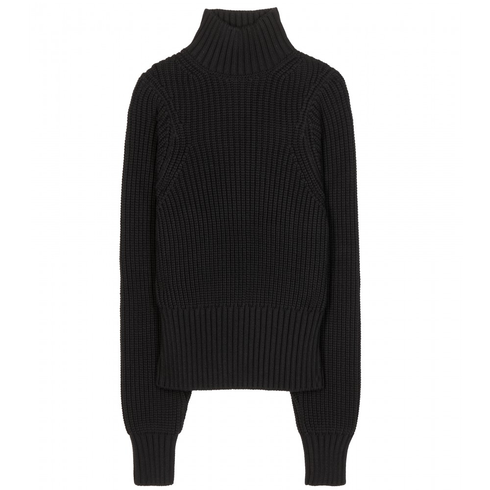 Victoria beckham Cotton-blend Turtleneck Sweater in Black | Lyst