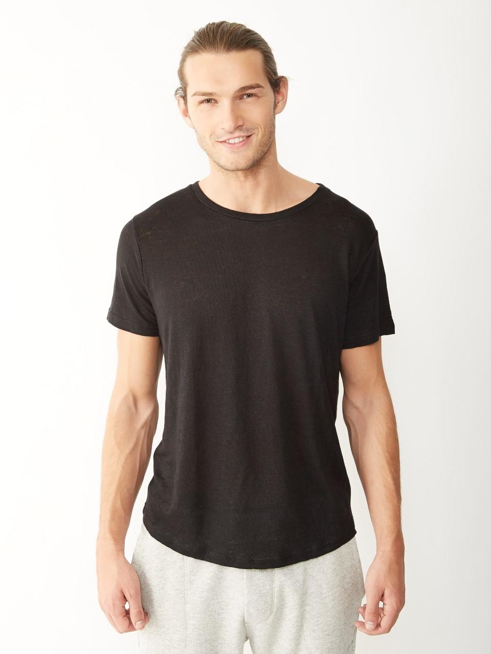Alternative Apparel Wide Neck Linen Tshirt In Black For