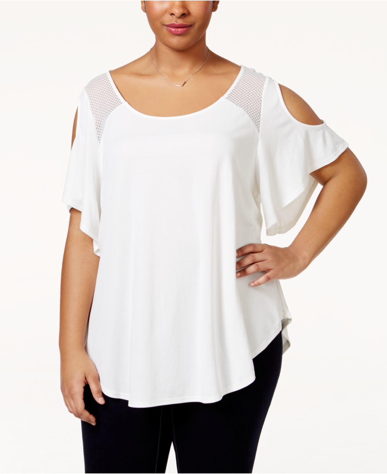 fbe0c286099b63 Lyst - Jessica Simpson Plus Size Mesh-trim Cold-shoulder Top in White