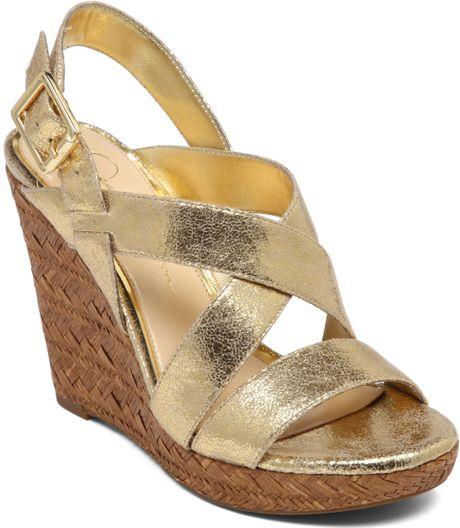 Gold Wedge Sandals April 2014