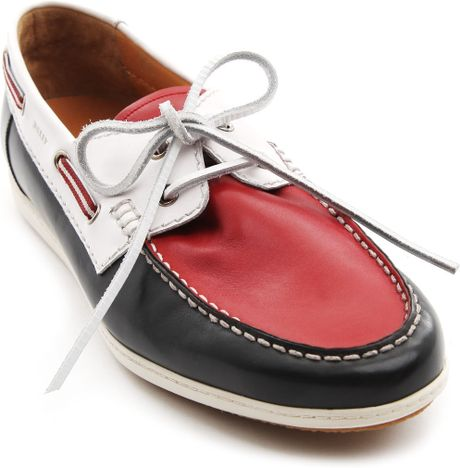 bally udal white and blue leather boat shoes in blue