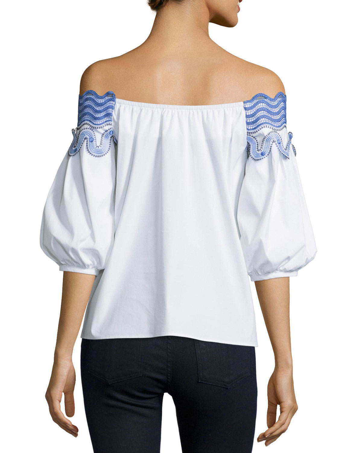 8c3b0f15401c2f Lyst - Peter Pilotto Embroidered Off-the-shoulder Top in White