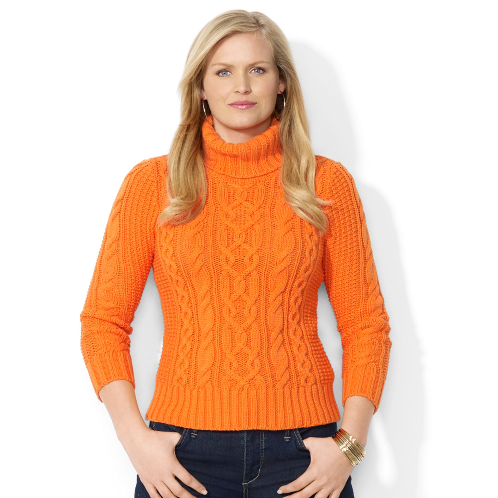 Plus Size Orange Turtleneck Sweater