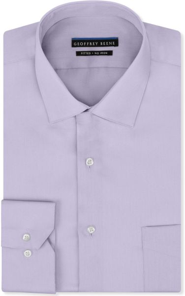 Geoffrey beene noniron fitted stretch sateen solid dress Light purple dress shirt men