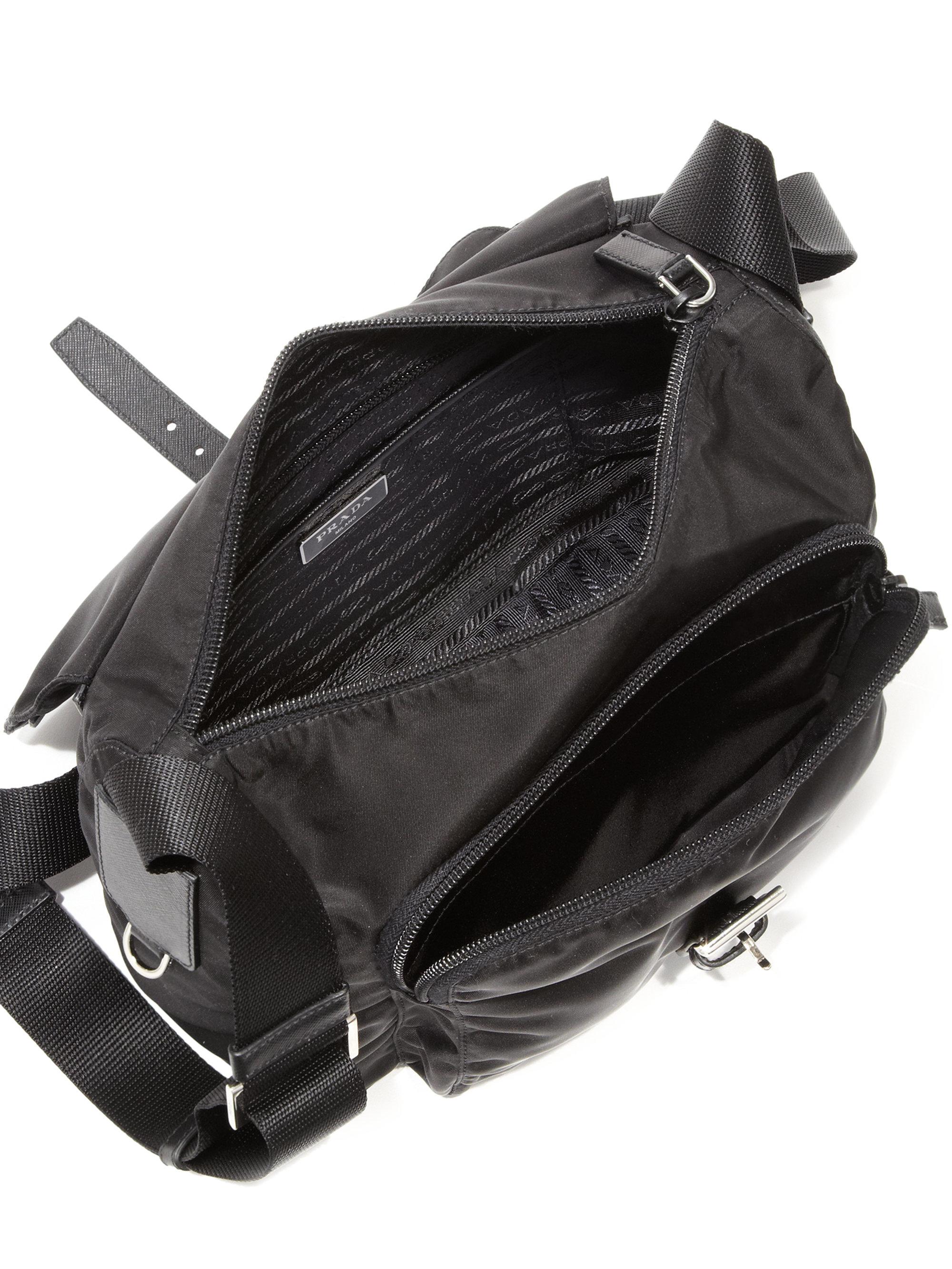 81a5a8718989 ... denmark lyst prada nylon leather crossbody bag in black 0b52d 6f483
