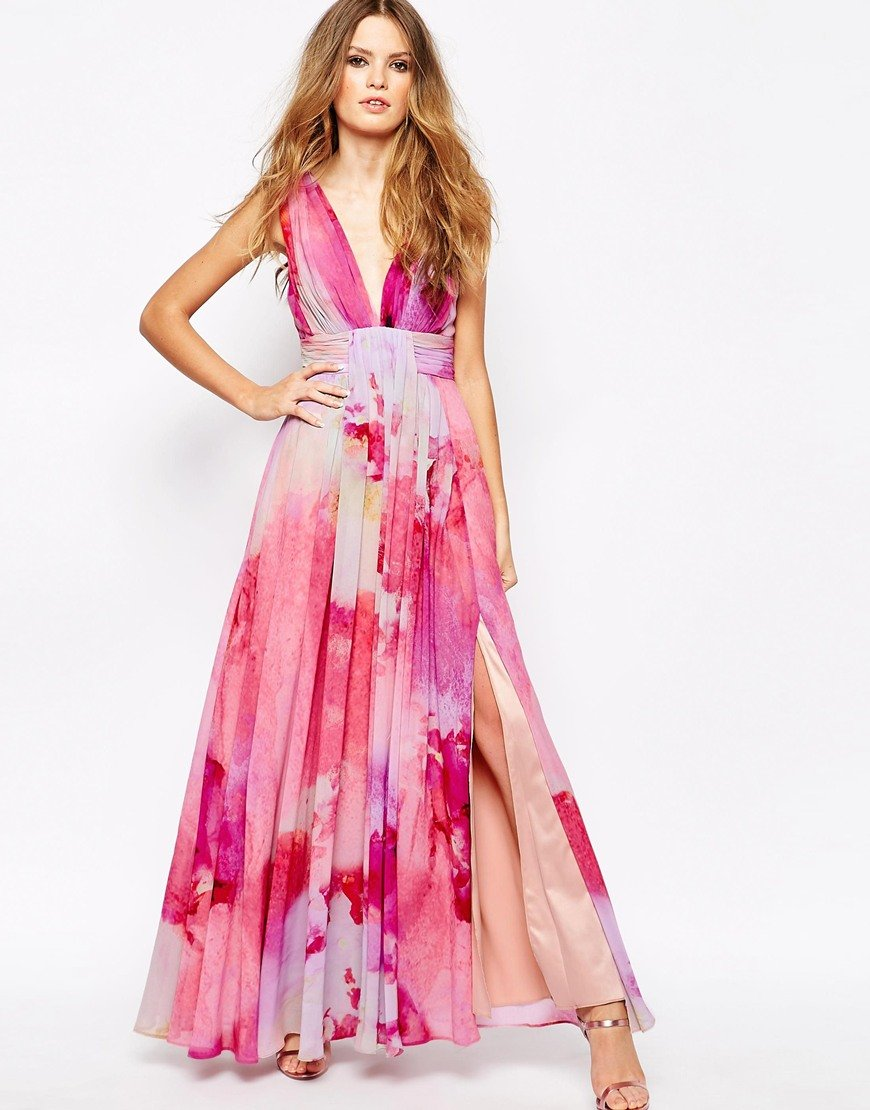 Fame Amp Partners Valencia Pleated Maxi Dress With Wrap