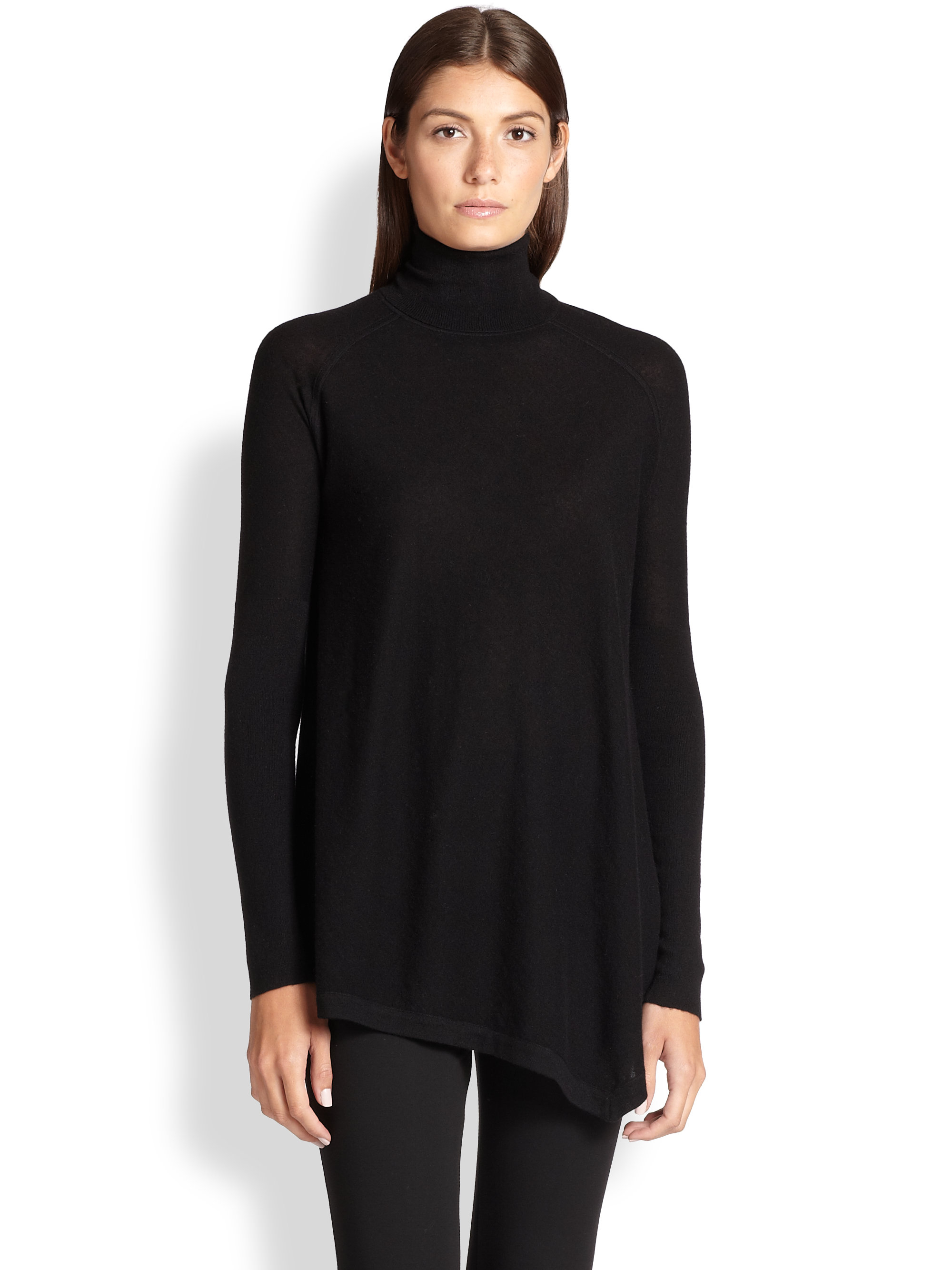 Donna karan Asymmetrical Cashmere Turtleneck Tunic in Black | Lyst
