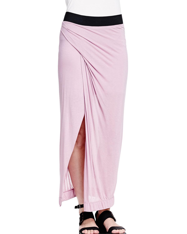 helmut lang colorblock draped maxi skirt in black rind