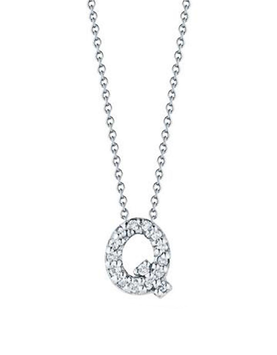 Roberto coin tiny treasures diamond and 18k white gold for Roberto coin letter pendant