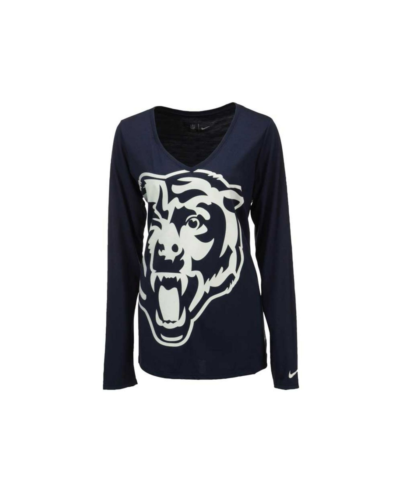 Nike women 39 s long sleeve chicago bears logo wrap t shirt for Wrap style t shirts