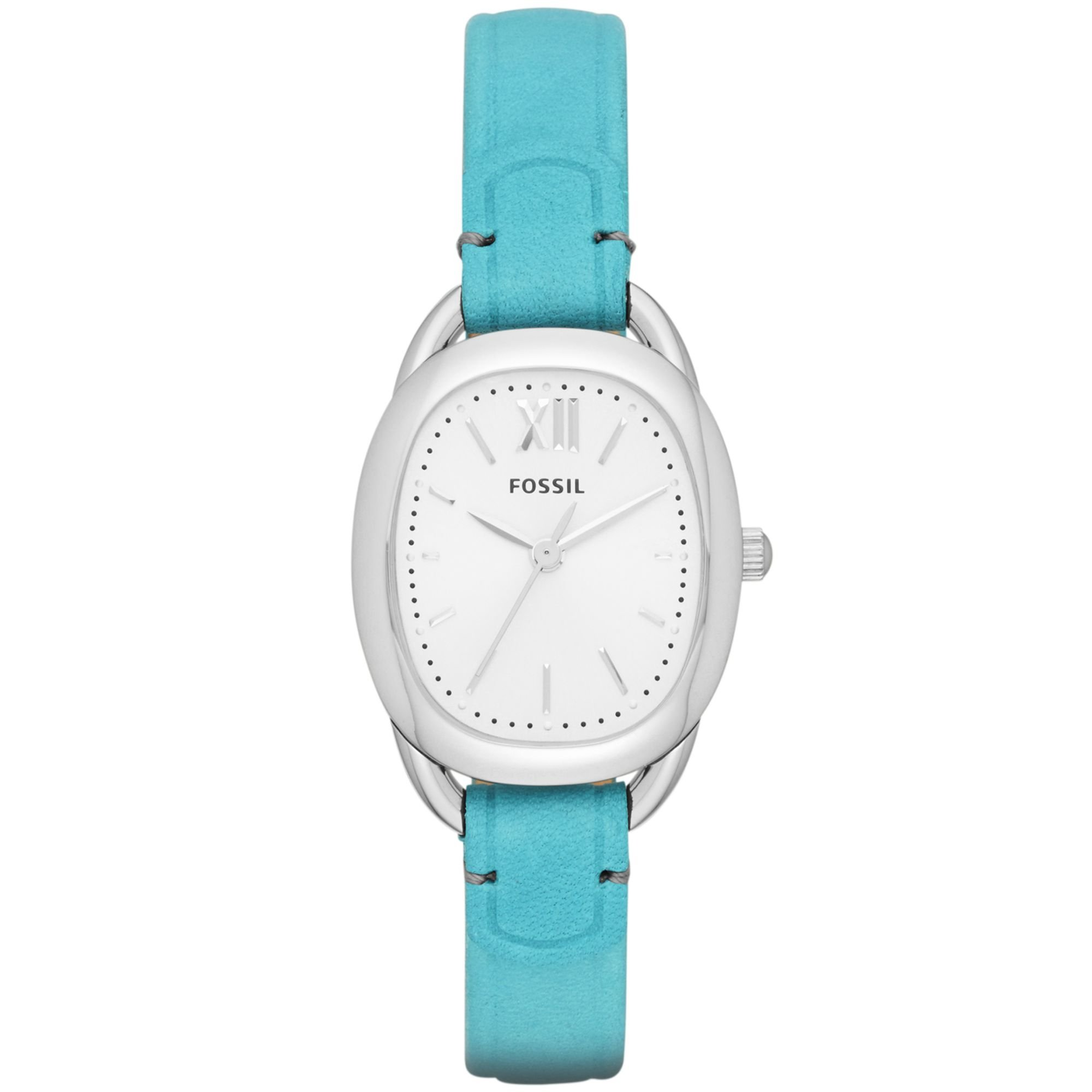 fossil womens sculptor blue leather 28x24mm in
