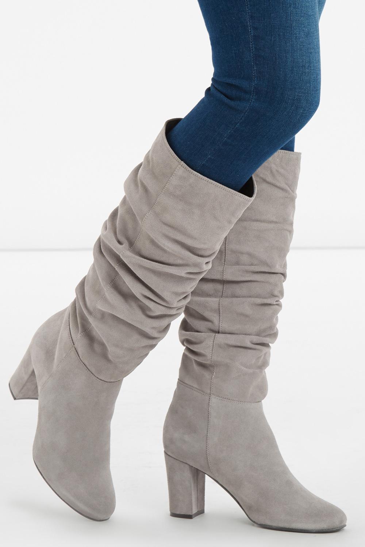 Lyst Oasis Slouchy Block Heel Boot In Gray