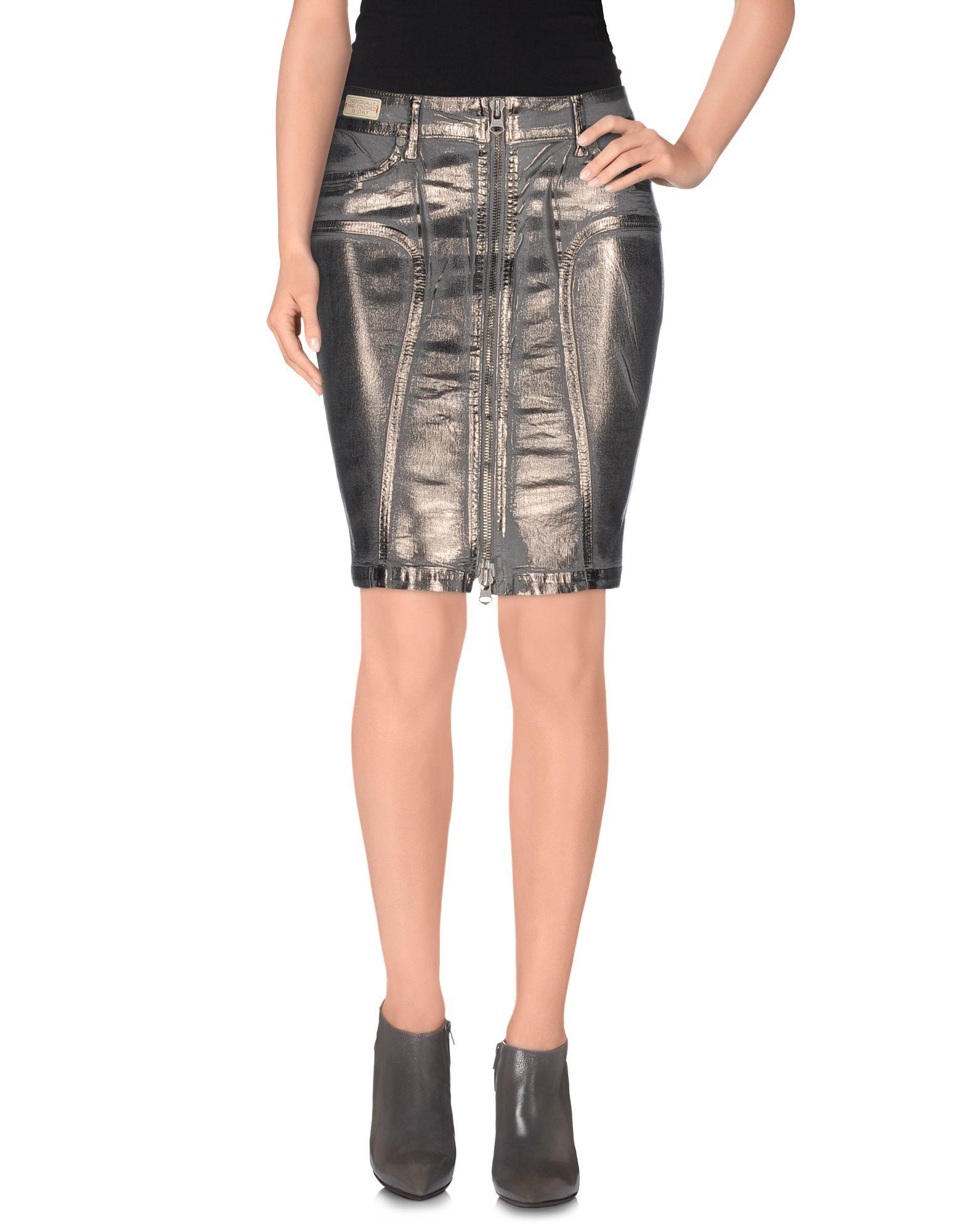 replay denim skirt in gray lyst