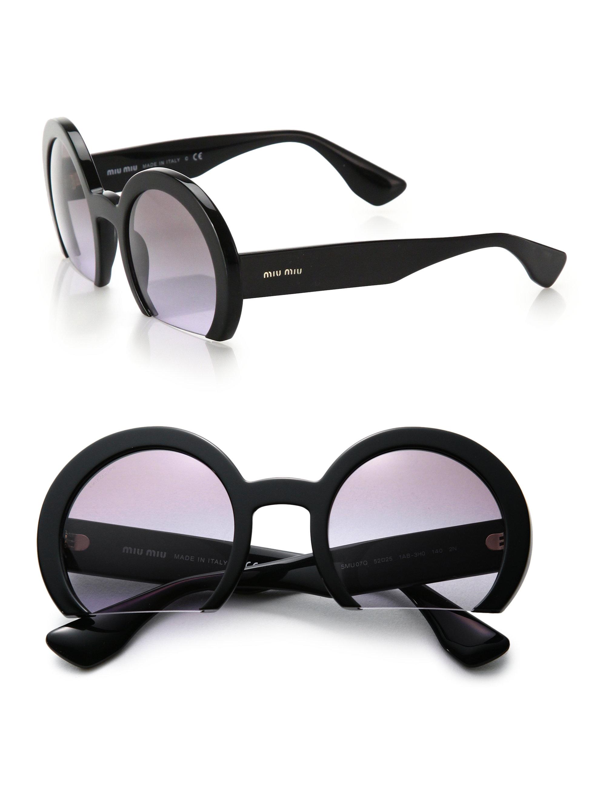 Miu Miu Sunglasses Round  miu miu cropped 52mm round sunglasses in black lyst