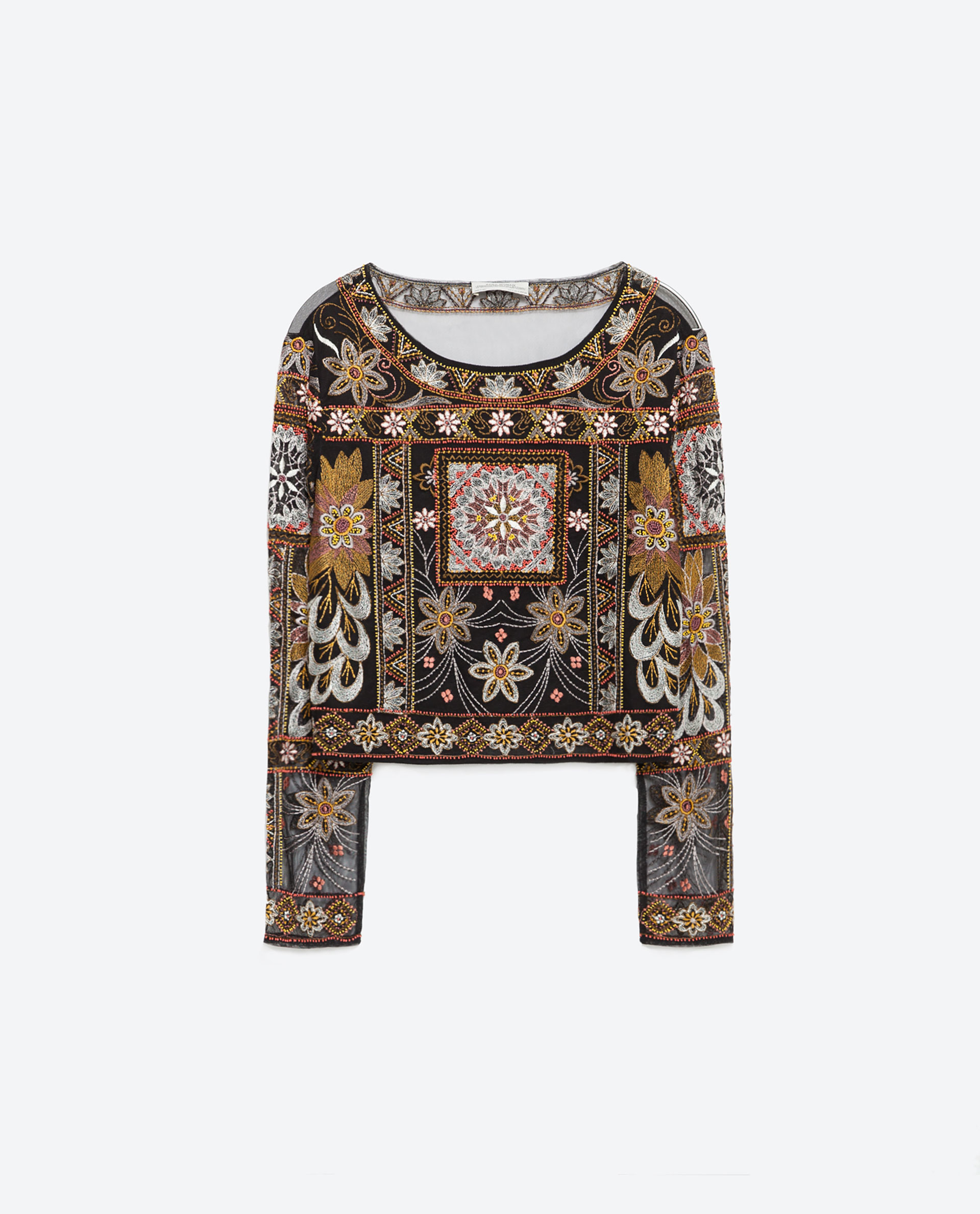 Zara Embroidered Top In Black | Lyst