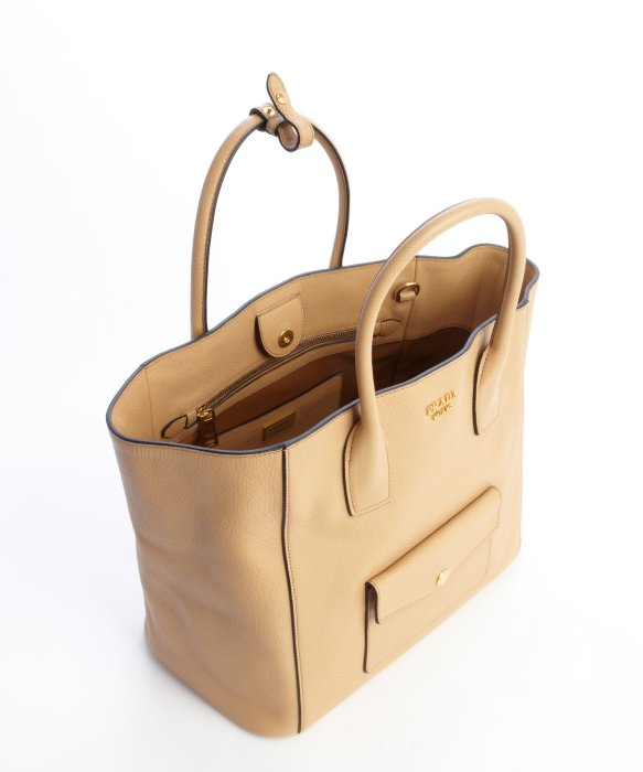 Prada Beige Saffiano Leather Front Pocket Convertible Tote in ...