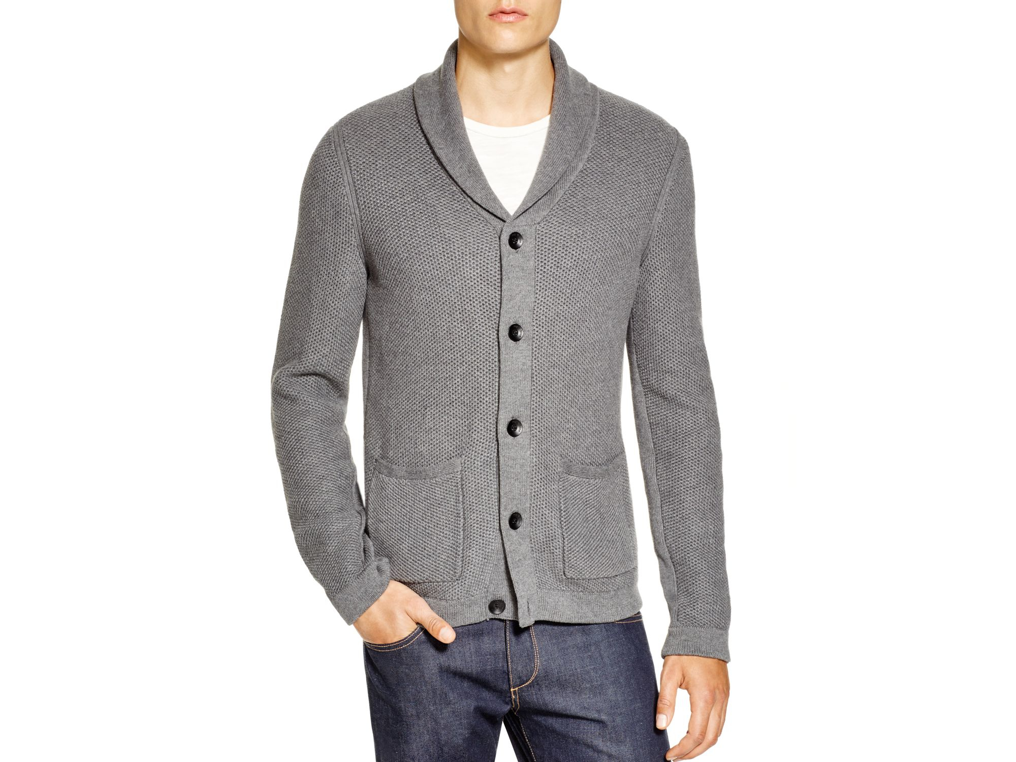 Lyst Rag Bone Shawl Collar Cardigan In Gray For Men