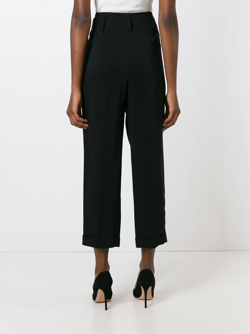 Lanvin Cropped Trousers In Black Lyst