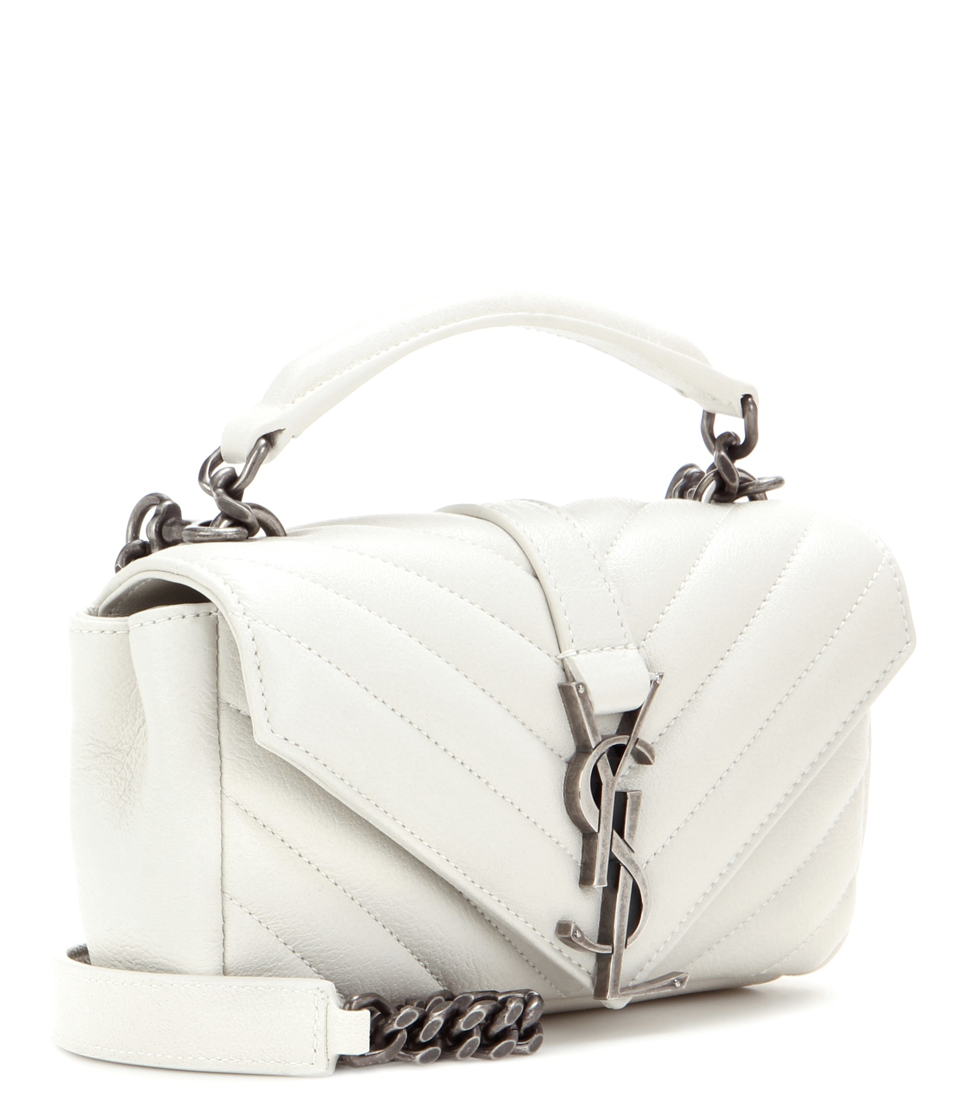 Lyst - Saint Laurent Monogram College Mini Quilted Leather Shoulder Bag in  White 2eb491d054