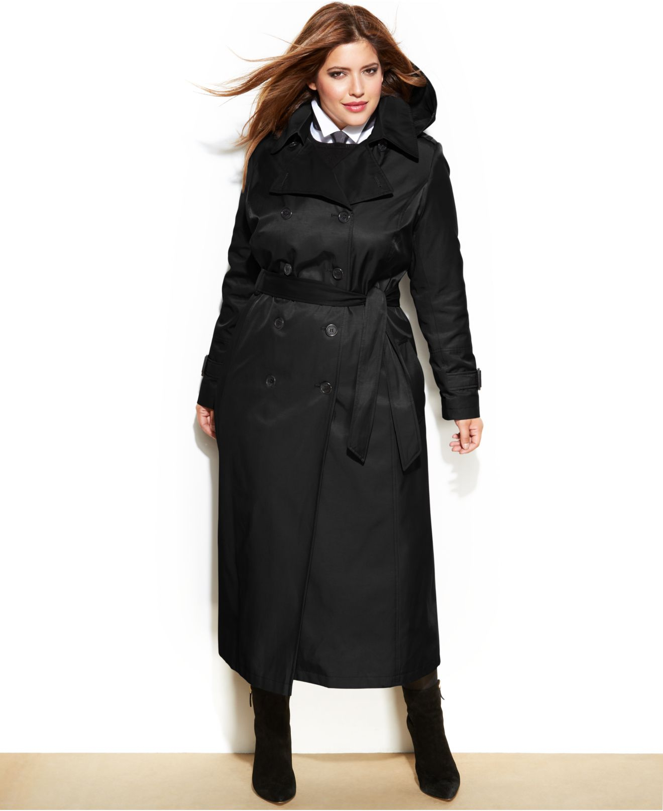 Womens Sexy Plus Size Trench Coat Solid Black Long Casual