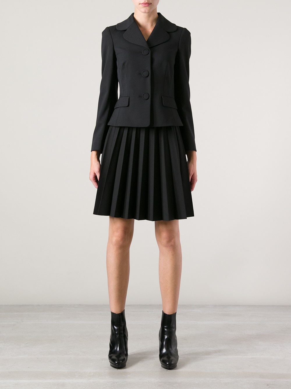 valentino sunray pleated skirt in black lyst