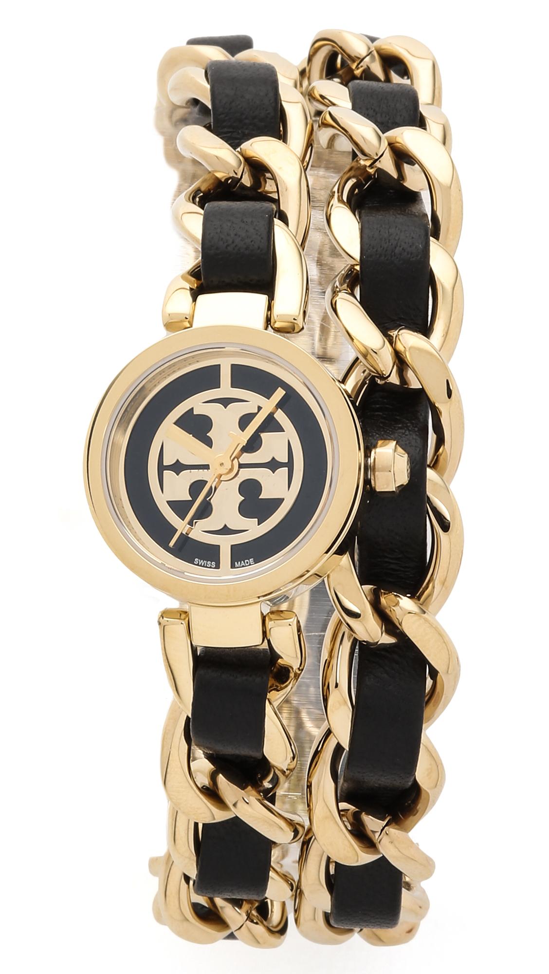 075a324ee Tory Burch Mini Reva Double Wrap Watch in Metallic - Lyst