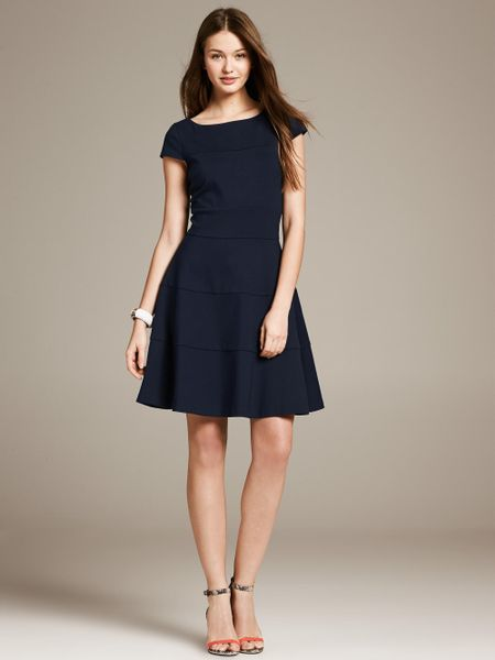 Banana Republic Seamed Fit And Flare Dress In Blue Preppy