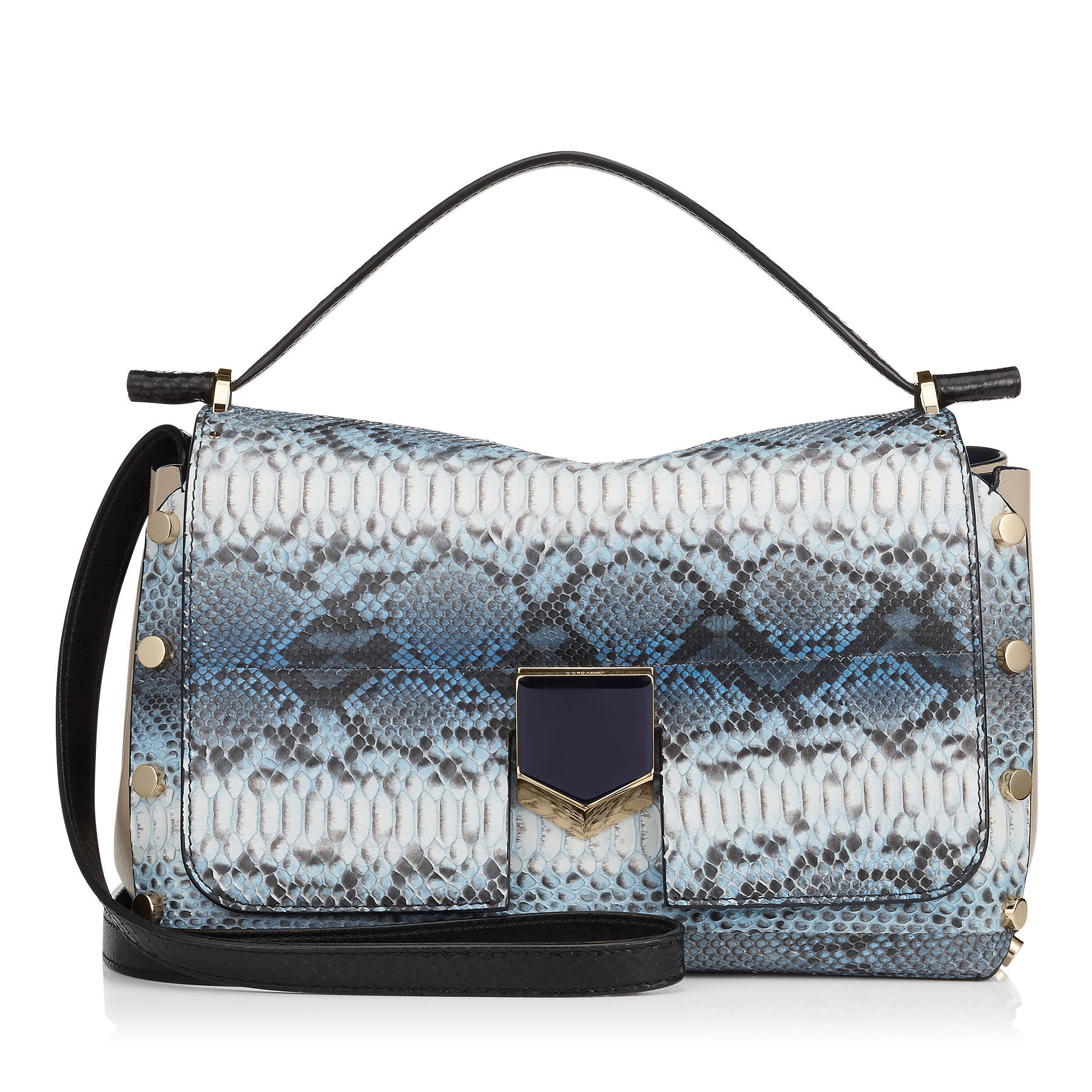 81a103513581 Lyst - Jimmy Choo Lockett s Denim Striped Degrade Python Handbag in Blue
