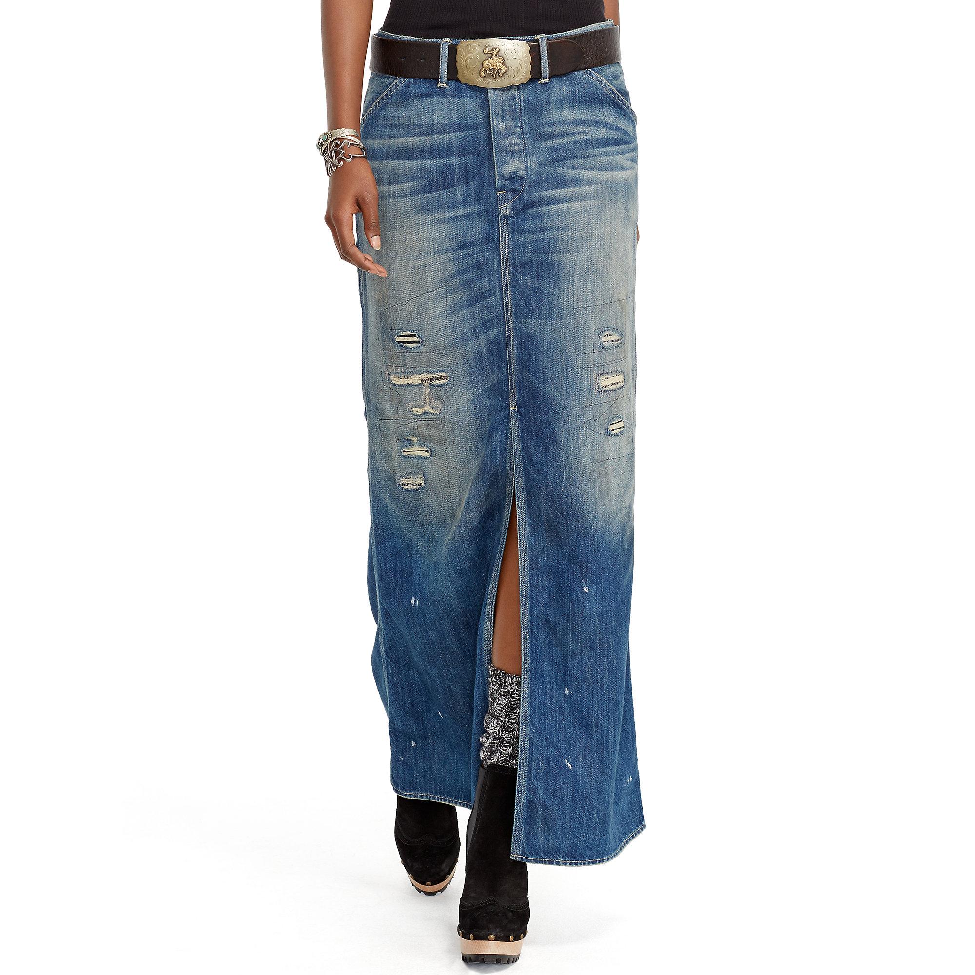 Polo ralph lauren Repaired Denim Maxiskirt in Blue   Lyst