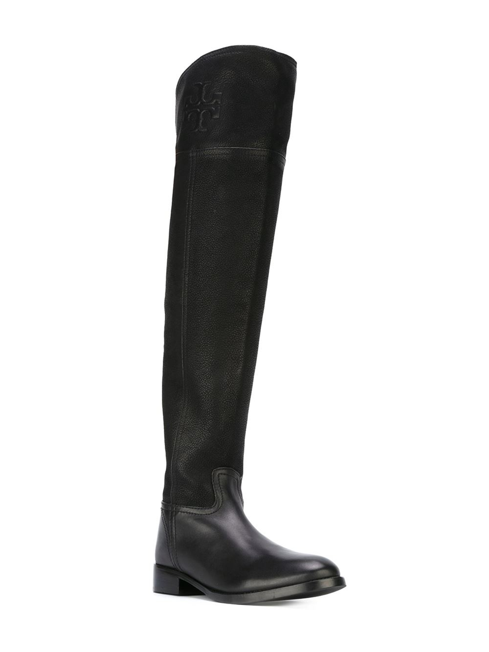 8167cc522d4e65 Lyst - Tory Burch Embossed Logo Knee-high Boots in Black