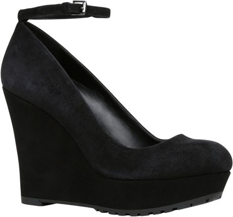 aldo palanza almond toe wedge shoes in black lyst