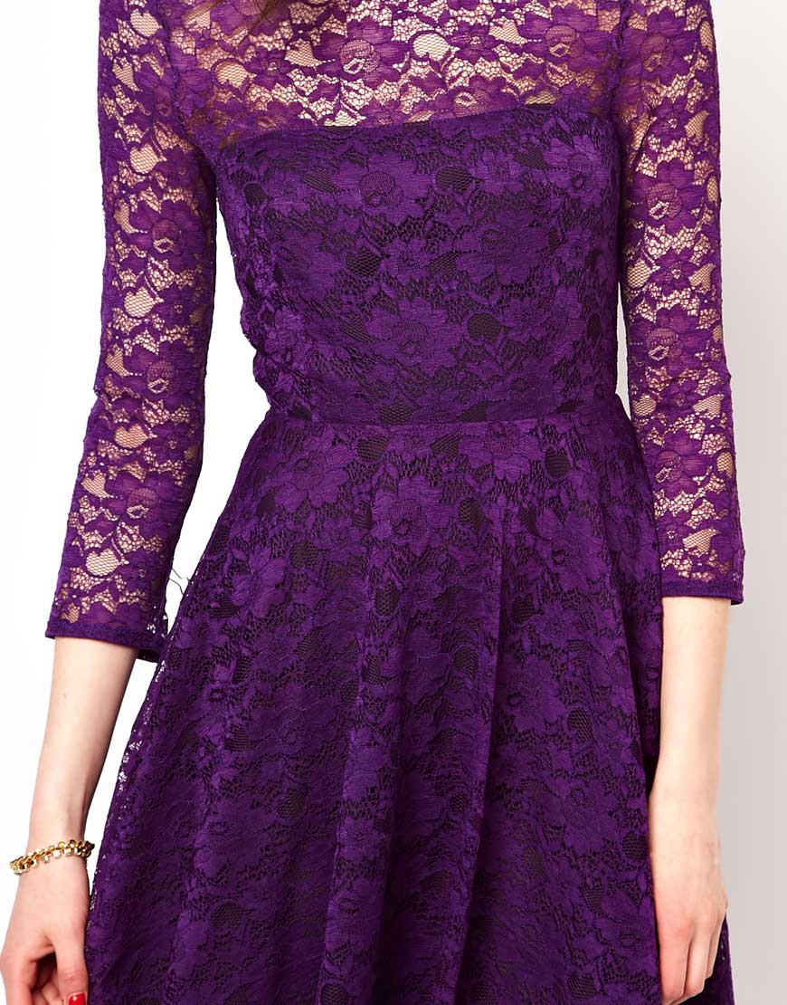 Lyst - French Connection Lace Evening Dress in Purple