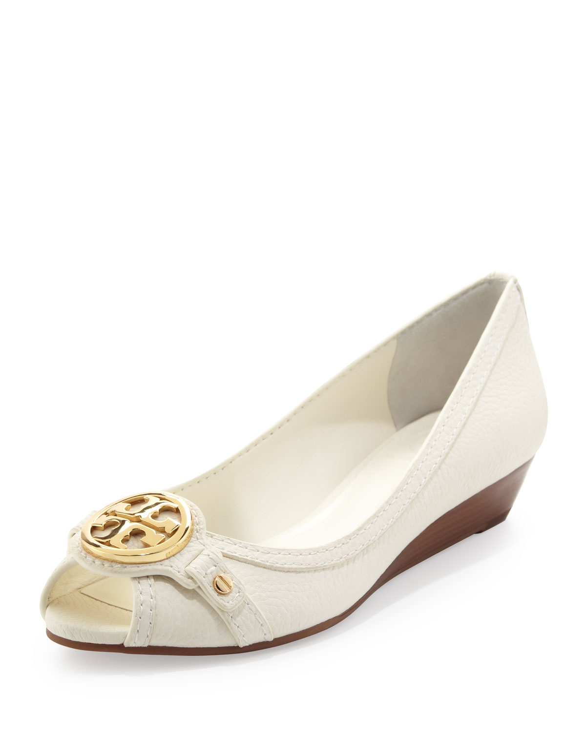 Lyst - Tory Burch Leticia Peeptoe Low Wedge Ivory in White 1bfbe40e847f