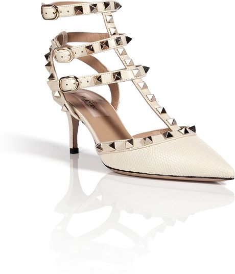 valentino lizard rockstud kitten heels in white lyst. Black Bedroom Furniture Sets. Home Design Ideas