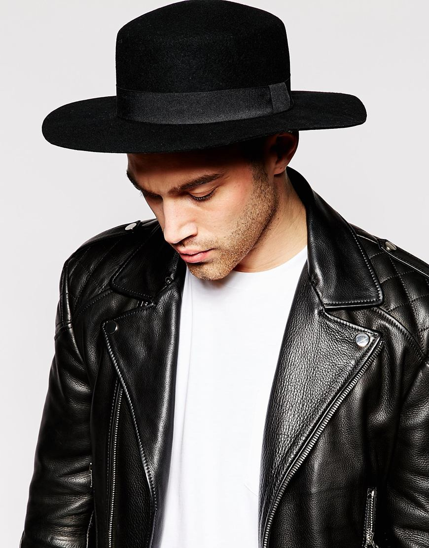 Lyst - ASOS Flat Top Hat In Black Felt With Wide Brim in Black for Men 4c254ad2092