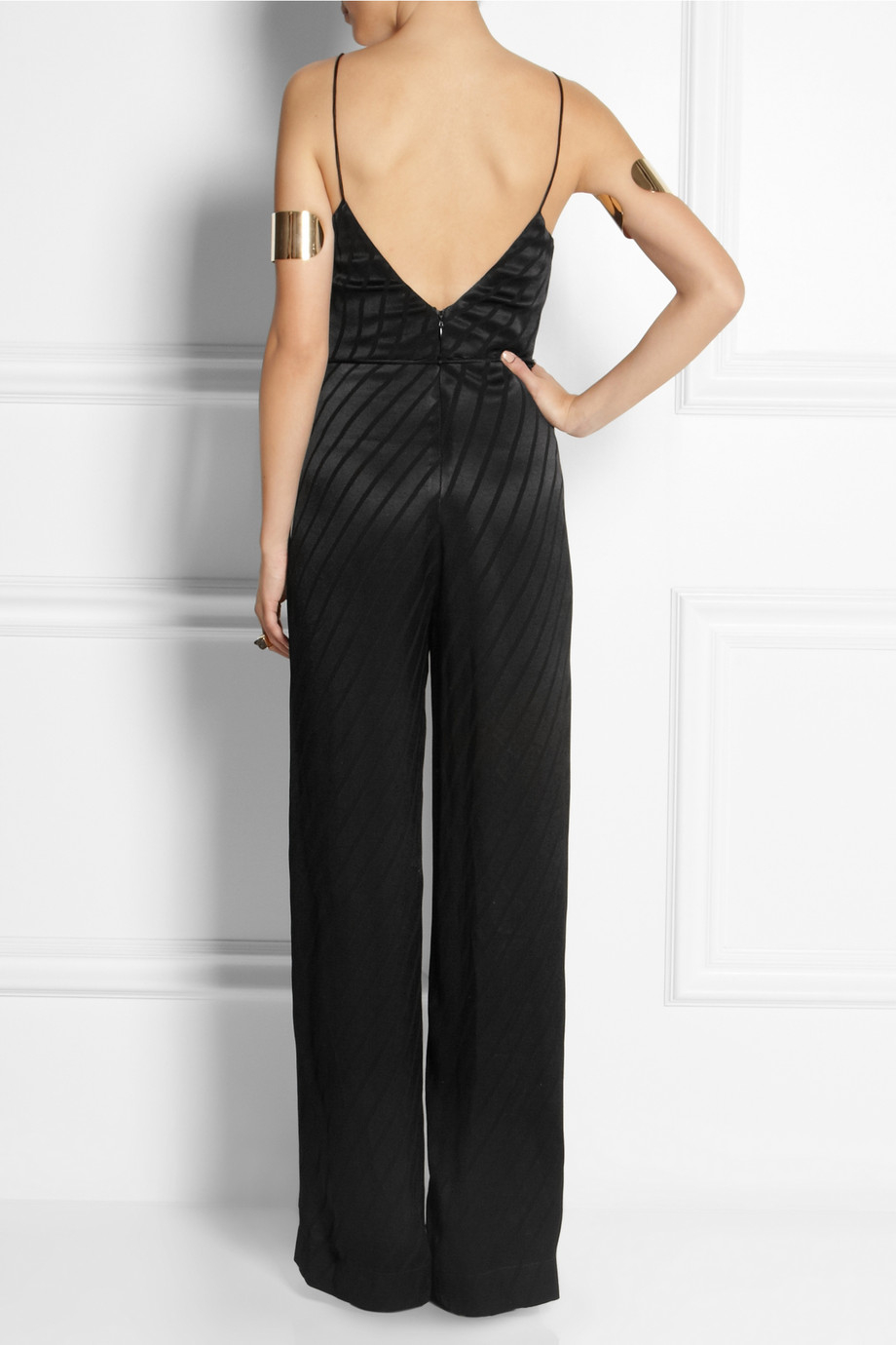 761ce038ab3 Lyst - TOPSHOP Striped Satin Jumpsuit in Black