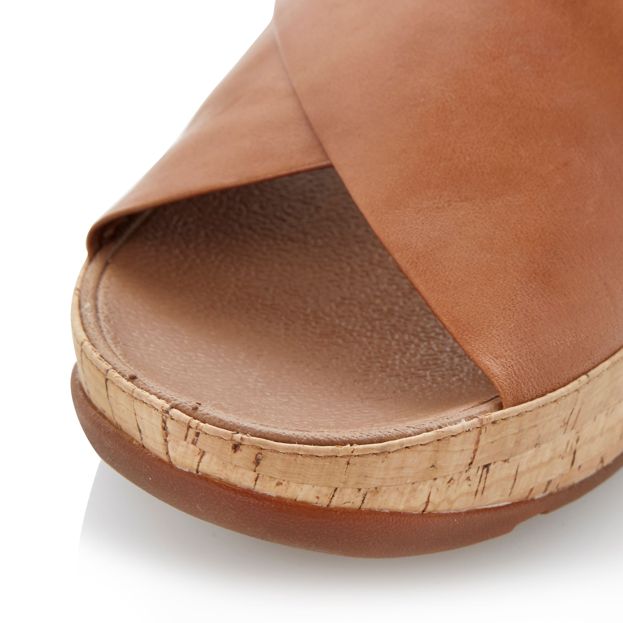Fitflop Kys Leather Round Toe Crossover Wedge Sandals In
