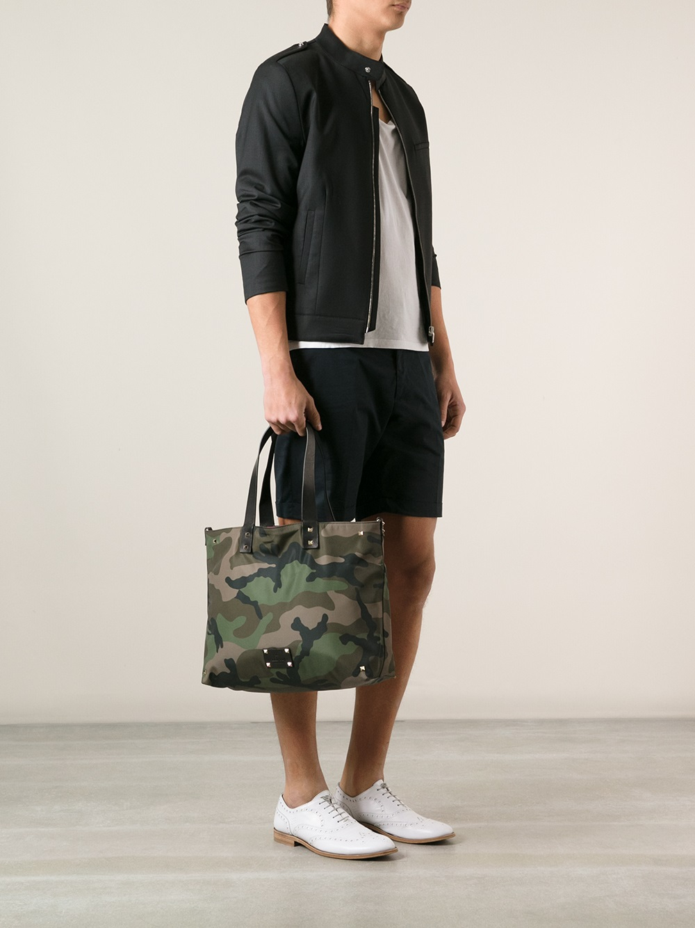Lyst Valentino Camouflage Print Tote In Green For Men