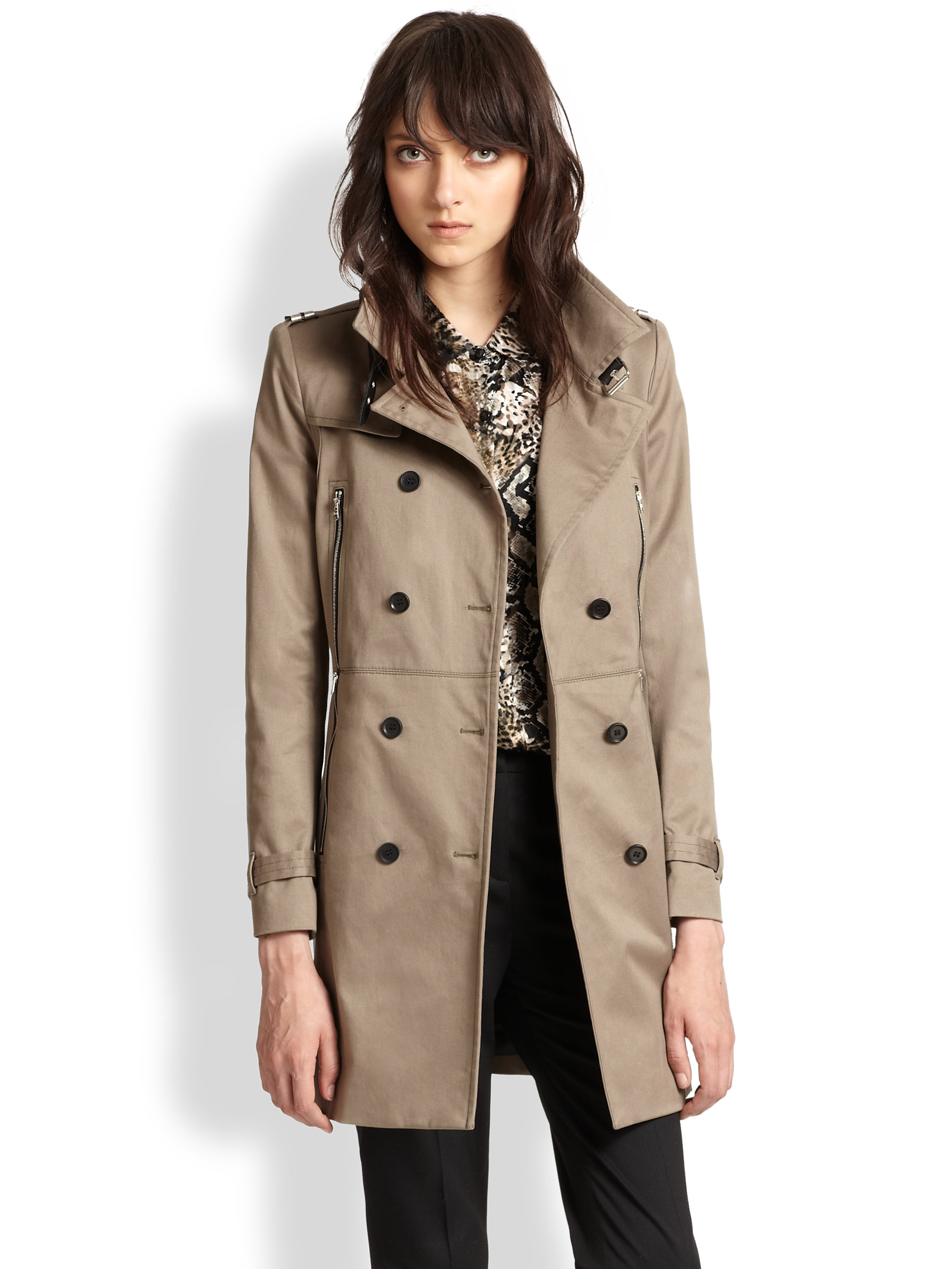 c0839a125c1 The Kooples Leather-Trimmed Stretch Cotton Trenchcoat in Natural - Lyst