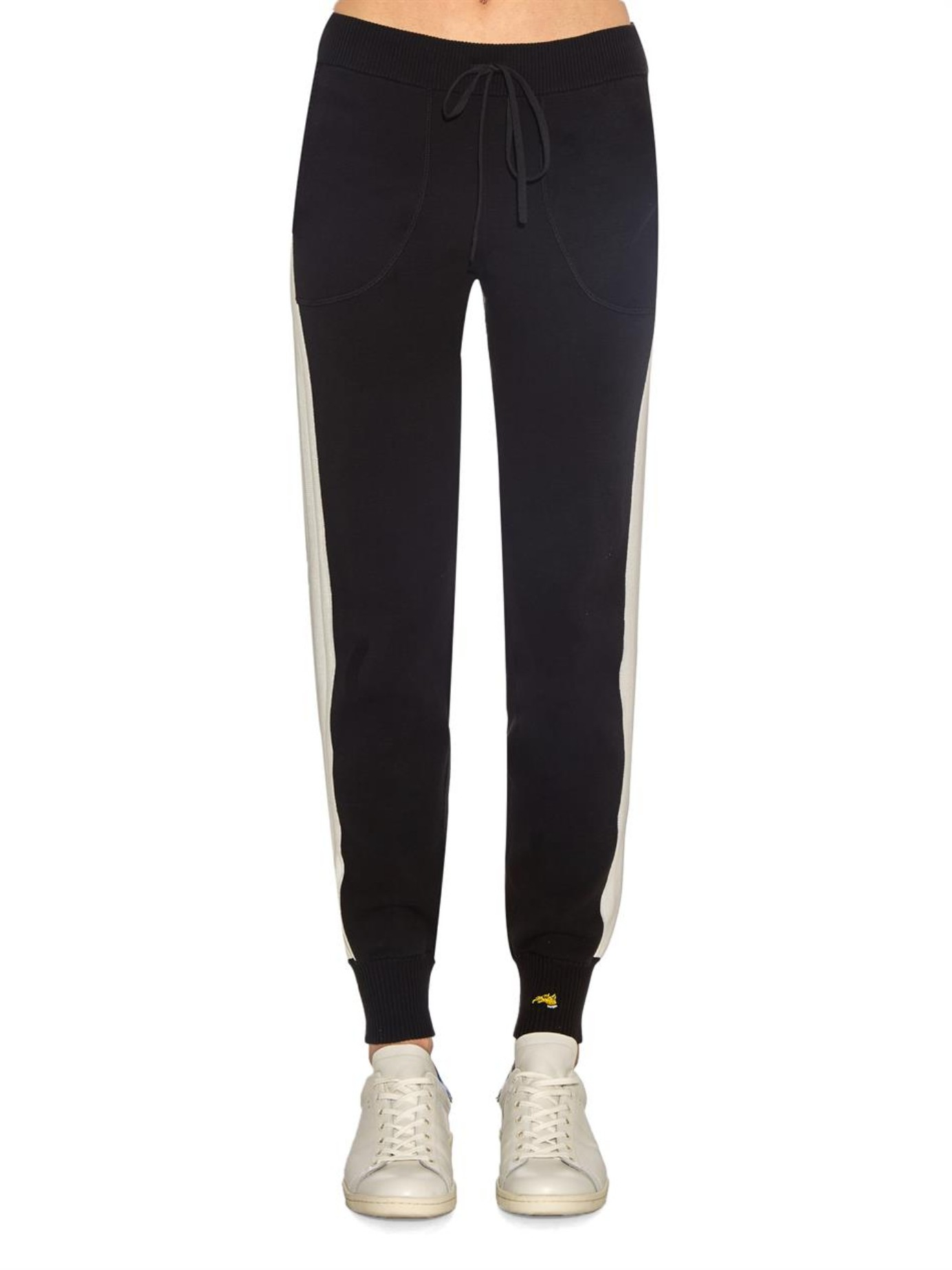 c2c5c051 Bella Freud Five-Stripe Cotton-Knit Track Pants in Black - Lyst