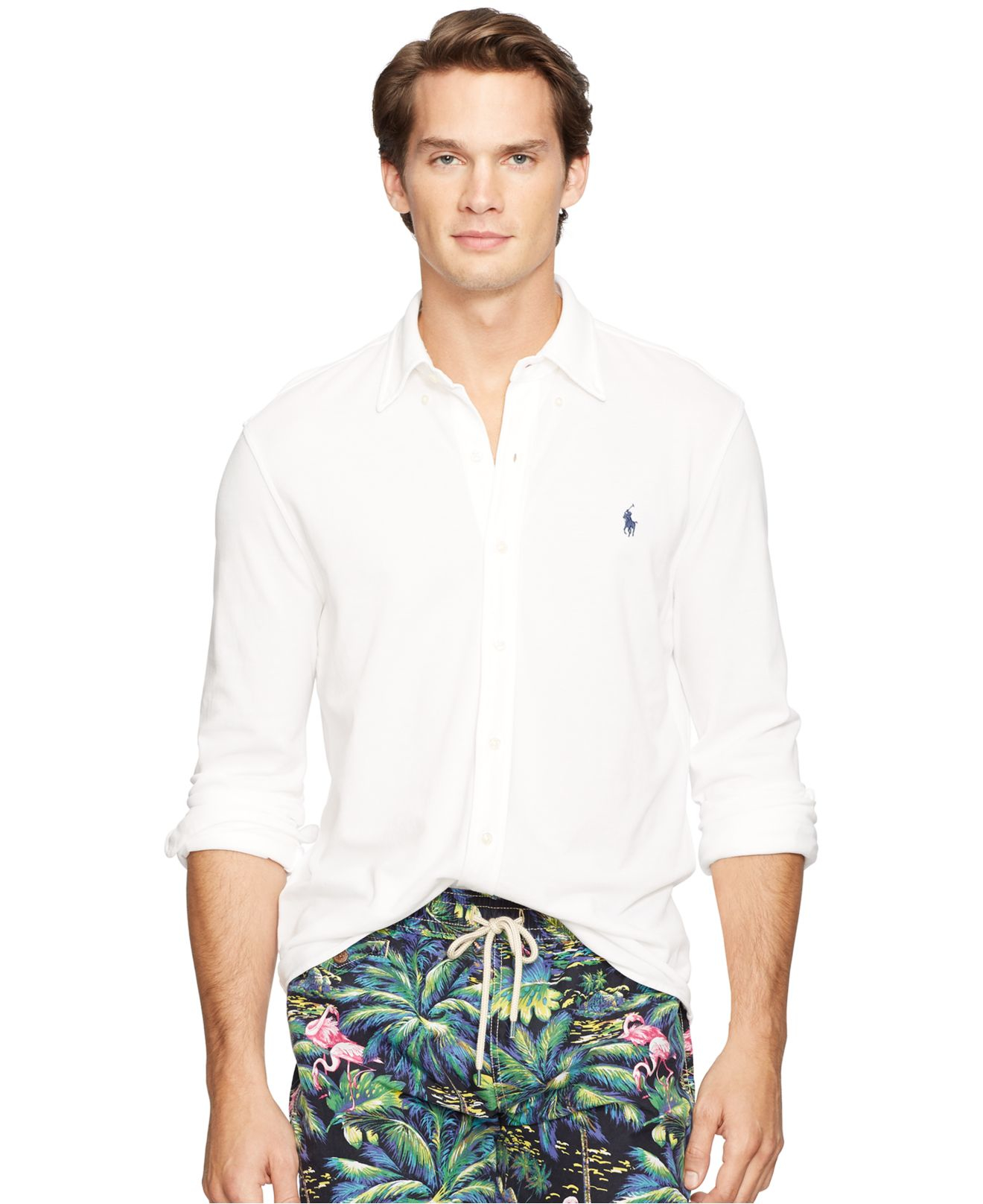 e967af995bf Lyst - Polo Ralph Lauren Featherweight Mesh Button-down Shirt in ...